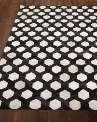 black and white geometric hair hide rug