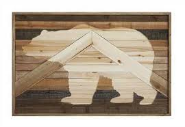fir wood wall décor w laser cut bear image