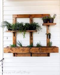 diy wooden wall planter box and pots