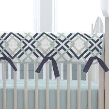 navy and gray geometric crib rail cover