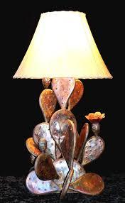 copper cactus lamp southwestern home decor rustic farmhouse country western
