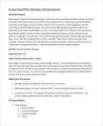 office manager sample job description sample accounting manager job description 10 examples in word pdf