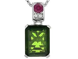 green russian chrome diopside silver pendant with chain 2 48ctw noh291 jtv com