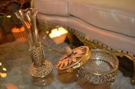 glass and brass box antique brass gilded gold jewelry box and mini vase antique brass glass