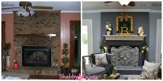 chalk acrylic painted fireplace brick