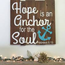 shining religious wall art wood s on wanelo hope is an anchor for the soul