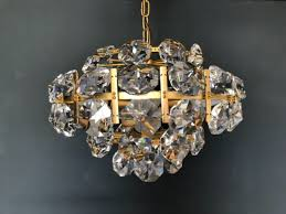 vintage chandelier mcm mid century modern 1960s wood brass opaline glass hover to zoom