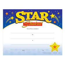 Star Student Certificates Star Student Gold Foil Stamped Certificate