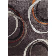 8 x 10 large mocha gray and orange area rug lola