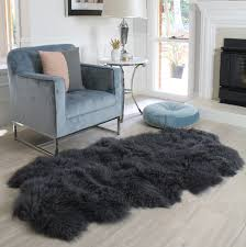 quatro dark charcoal grey floor runner area rug mongolian sheepskin gy fur