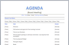 agenda template for word meeting agenda
