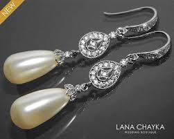 bridal pearl chandelier earrings swarovski ivory teardrop pearl earrings pearl cz silver wedding earrings bridal pearl jewelry prom jewelry 31 90 usd