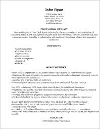 resume templates hotel front desk agent resume