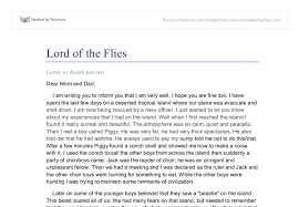 lord of the flies letter from ralph gcse english marked by document image preview