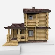 wood log rest house 3d model max obj 3ds fbx c4d mtl 5