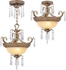 livex 8892 65 la bella traditional hand painted vintage gold leaf ceiling pendant light loading zoom