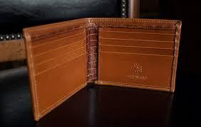 walletsmen s designer chestnut leather bifold wallet in french calf and alligator prev