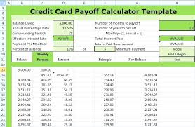 Template Calculate Credit Card Payoff Payment Template Excel Form