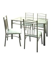 Metal Kitchen Table And Chairs Furniturekraft Fk Catalina 4 Seater Dining Set With Glass Top