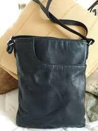 margot brand genuine black leather cross purse