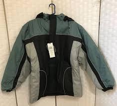 climate concepts men s fleece lined jacket w removable hood large black grey