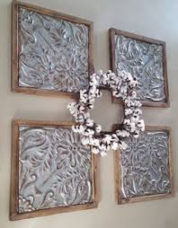 metal and wood tin squares are the perfect answer to that huge wall with nothing on on framed 10 silver squares wall art with rustic wall decor antique architectural salvage 4 framed ceiling