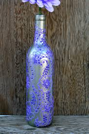 Hand Painted Wine bottle Vase, Up Cycled, Silver and Purple. $25.00, via