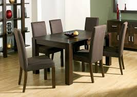 room simple dining sets: simple dining sets  simple dining sets ideas with wood ding table and brown leather chairs and cabinet also shelves plus mirror on brown and white wall painted also vinyl flooring