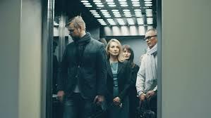 people talking in elevator. business people call an elevator, get in when it arrives - 4k stock video clip talking elevator