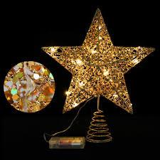 Stobok Weihnachtsstern Topper Warmes Licht Weihnachtsstern Für Weihnachtsbaumschmuck Party Dekoration 12 Zoll Golden