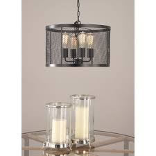 5 light pendant with matte black drum type iron wire mesh shade