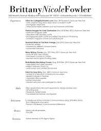 Fashion Blogger Resume Sample Education needs to be at the top Otherwise great format 1