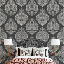 large wall stencils for paintingIndian Annapakshi Damask Wall Stencil  Royal Design Studio Stencils