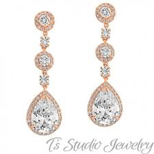 gold teardrop cz bridal chandelier earrings matching necklace