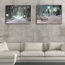 Lighted Central Park Canvas Wall Art Lighted Canvas Print White And Black Central Park Winter Night Wall Decor Led Picture Artwork Painting Christmas Decorative Gift