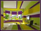 Green purple bedroom