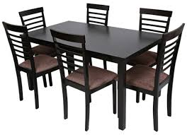 aft cheer1 6 wooden dining table and chair set wengi and dark chocolate