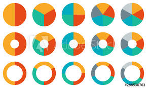 Pie Chart Set Colorful Diagram Collection With 2 3 4 5 6