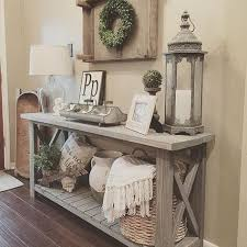 Plain Sofa Table Decor Farmhouse Console Vignette In A Foyer Intended Design