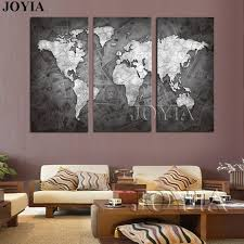 >online shop large world map wall art canvas black metalic modern  large world map wall art canvas black metalic modern paintings globe maps on money background home decor poster 3 piece no frame