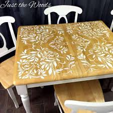 Darling Damask Stenciled Dining Room Table By Just The Woods