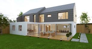 aluminium bi fold doors on modern property with decking