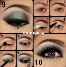 brown eyes makeup step by step with green eyeshadow