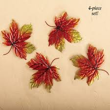 metal autumn leaves wall decor set of 4