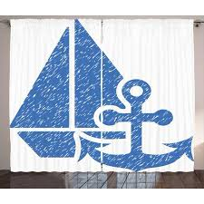 Vintage Blue Curtains 2 Panels Set, Marine Themed Anchor and Sailboat with Grungy Design Nautical Print, Window Drapes for Living Room Bedroom, 108W X ...