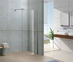 simple free standing one sided walk in shower enclosures one support bar for house