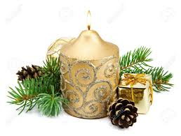 Pine Branches For Decoration Christmas Decoration With Golden Candles Pine Cones Spruce