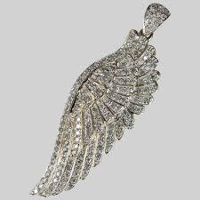 natural diamond angel wing pendant 3 0