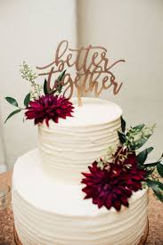 Simple 2 Tier Textured Cake Burgundy Dahlias Better Together Cake