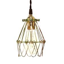 cage pendant light minimalist polished brass with wire nostalgic style era bulb uk